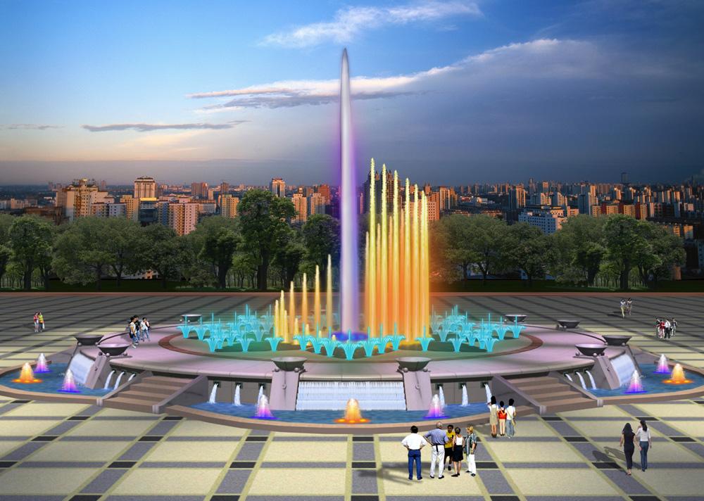 喷泉公司设计案例青岛极地海洋世界喷泉效果图2
